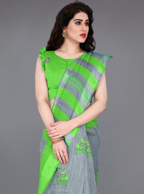 Cotton Green and Grey Abstract Print Classic Saree