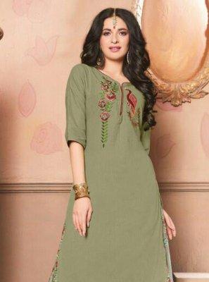 Cotton Green Embroidered Designer Lehenga Choli