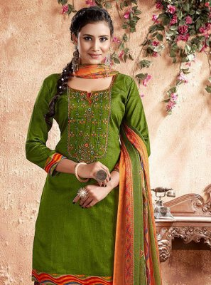 Cotton Green Embroidered Designer Patiala Suit