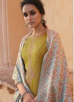 Cotton Green Embroidered Palazzo Salwar Kameez