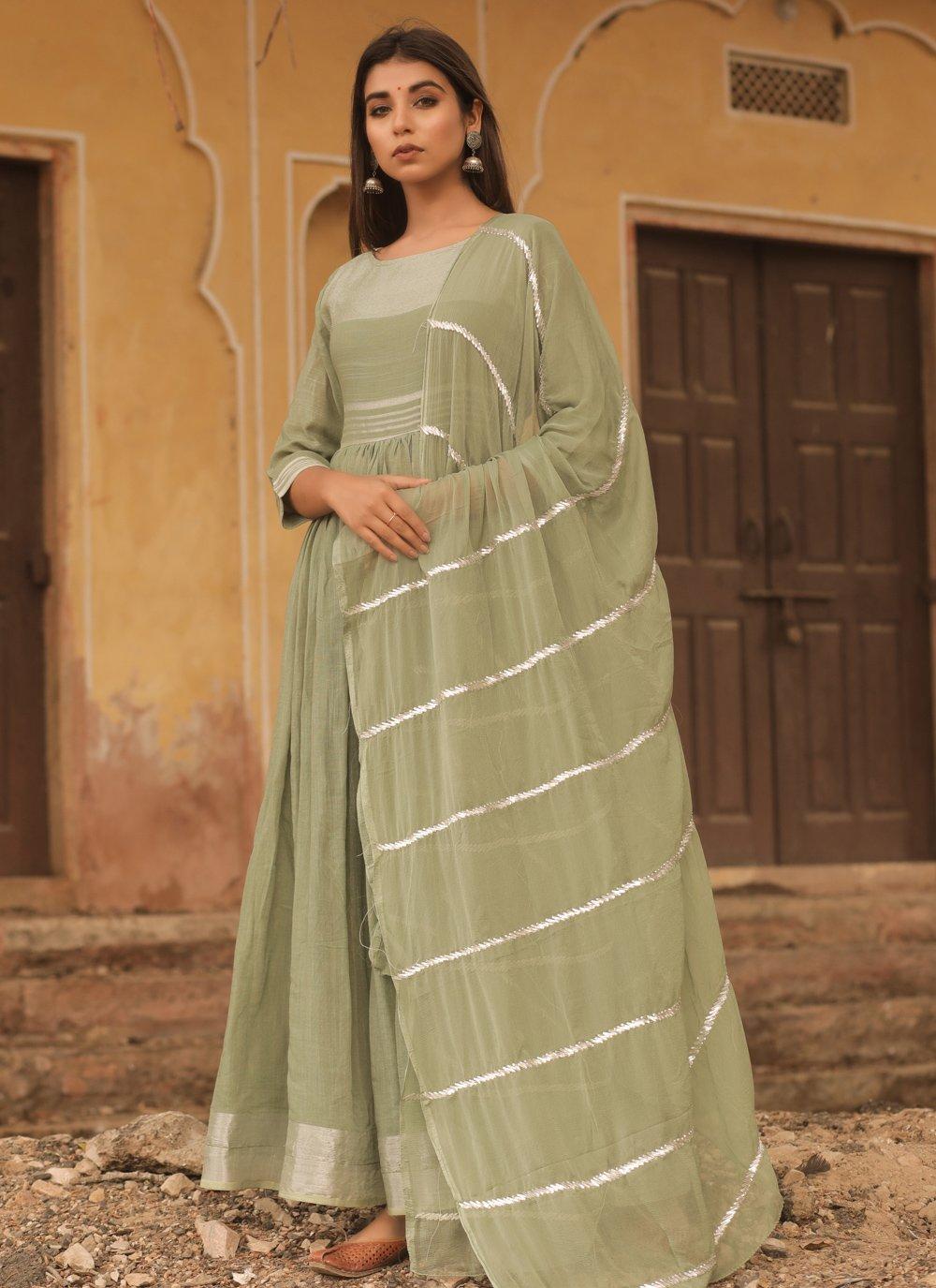 Cotton Green Fancy Designer Gown