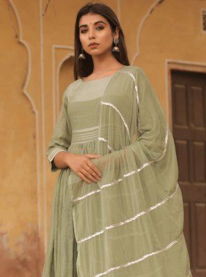 Cotton Green Fancy Designer Gown
