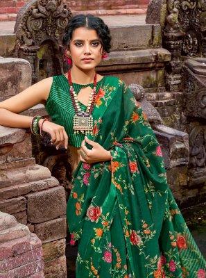 Cotton Green Floral Print Printed Saree