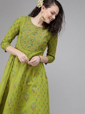Cotton Green Print Party Wear Kurti