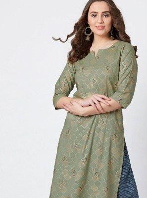 Cotton Green Print Party Wear Kurti