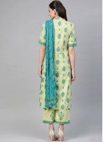 Cotton Green Print Readymade Suit