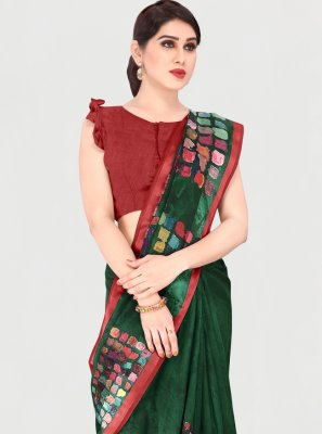 Cotton Green Printed Saree