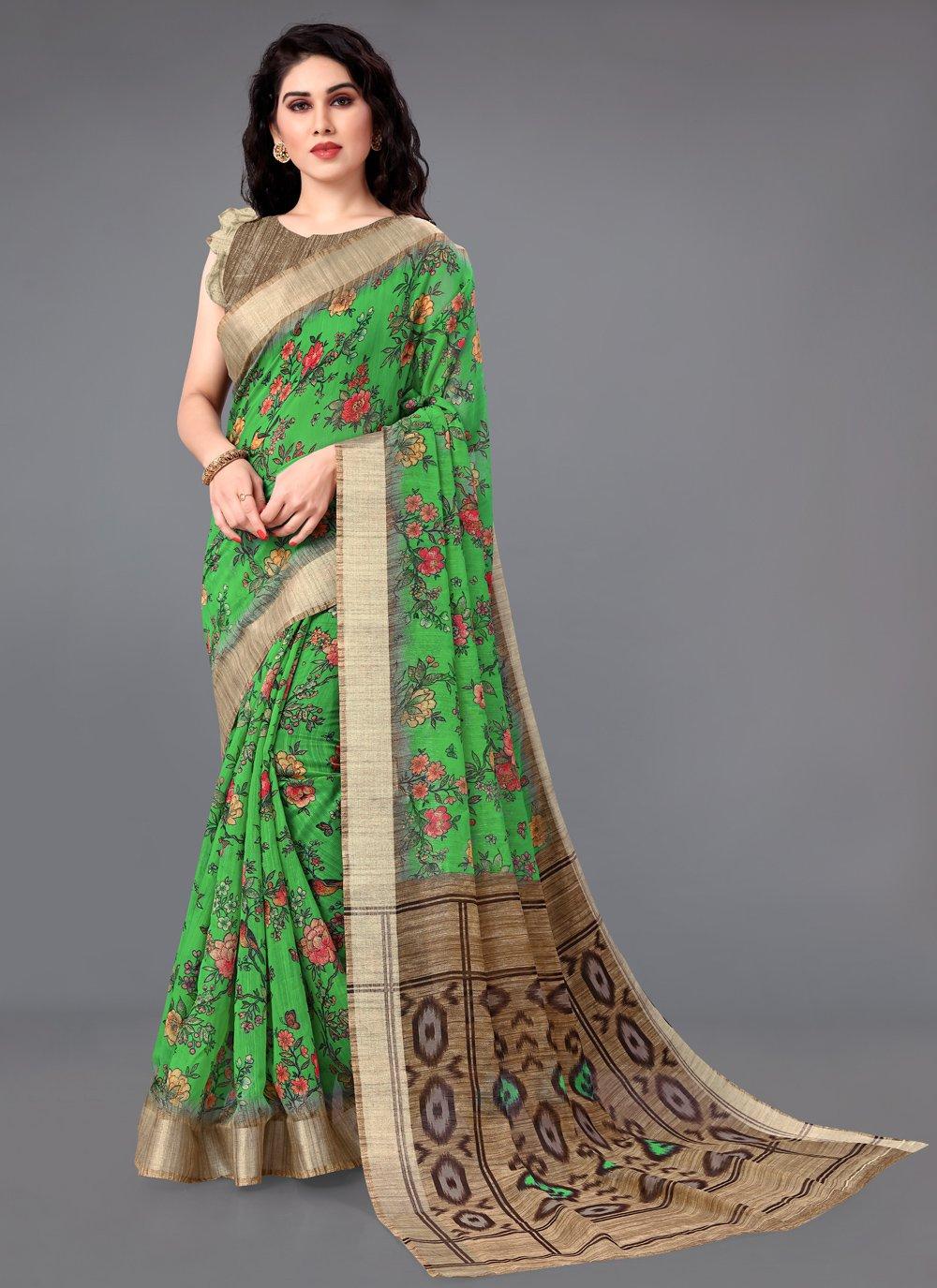 Cotton Green Printed Saree