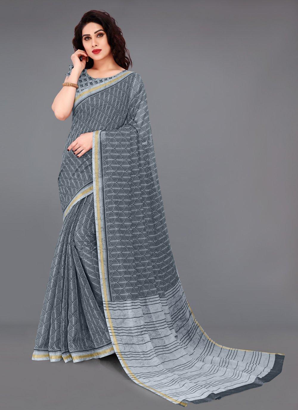 Cotton Grey Abstract Print Printed Saree