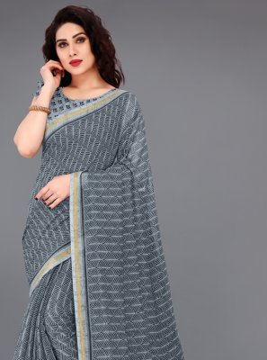 Cotton Grey Abstract Print Printed Saree