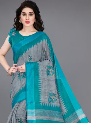 Cotton Grey and Turquoise Printed Printed Saree