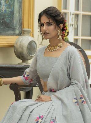 Cotton Grey Classic Designer Saree