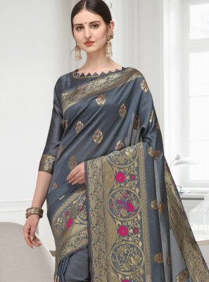 Cotton Grey Designer Saree