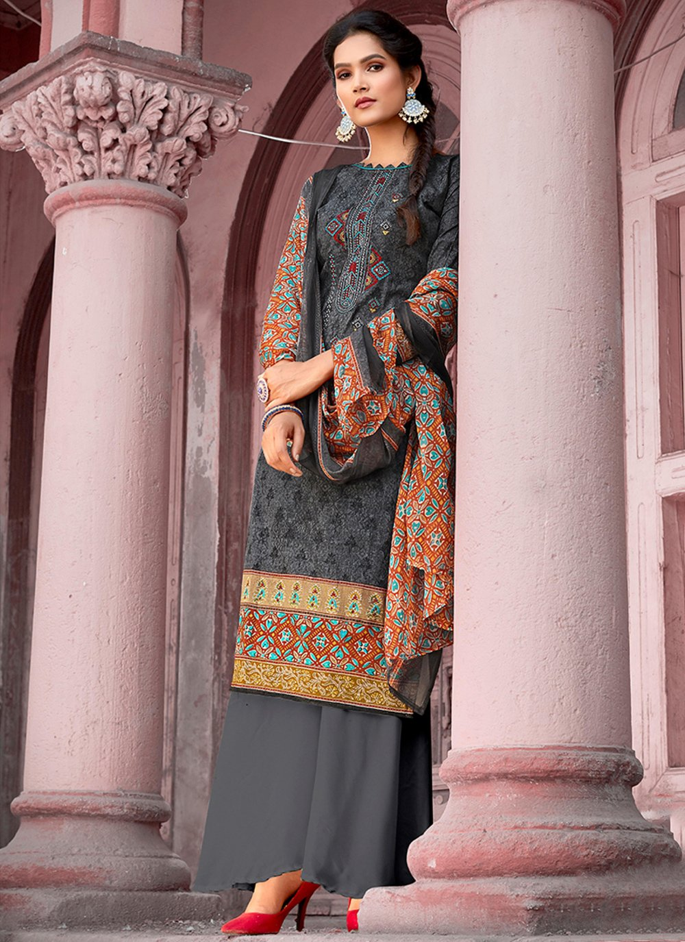 Cotton Grey Embroidered Designer Pakistani Salwar Suit