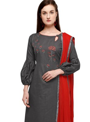 Cotton Grey Embroidered Pant Style Suit