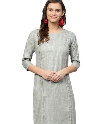 Cotton Grey Party Wear Kurti