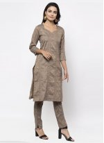Cotton Grey Plain Trendy Salwar Kameez