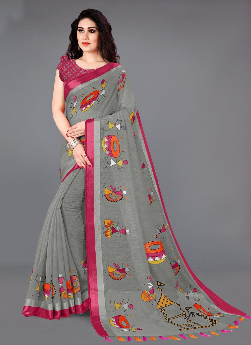 Cotton Grey Printed Printed Saree