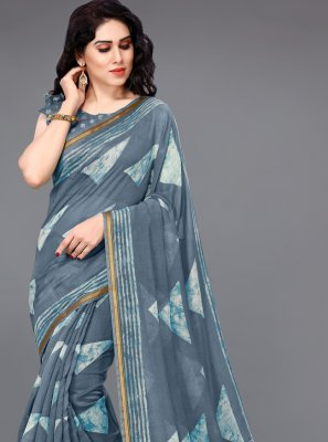 Cotton Grey Printed Printed Saree