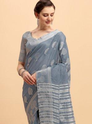 Cotton Grey Printed Trendy Saree