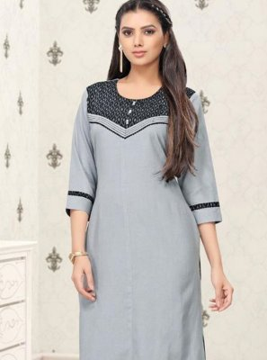 Cotton Grey Thread Work Party Wear Kurti