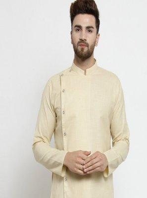 Cotton Kurta Pyjama in Beige