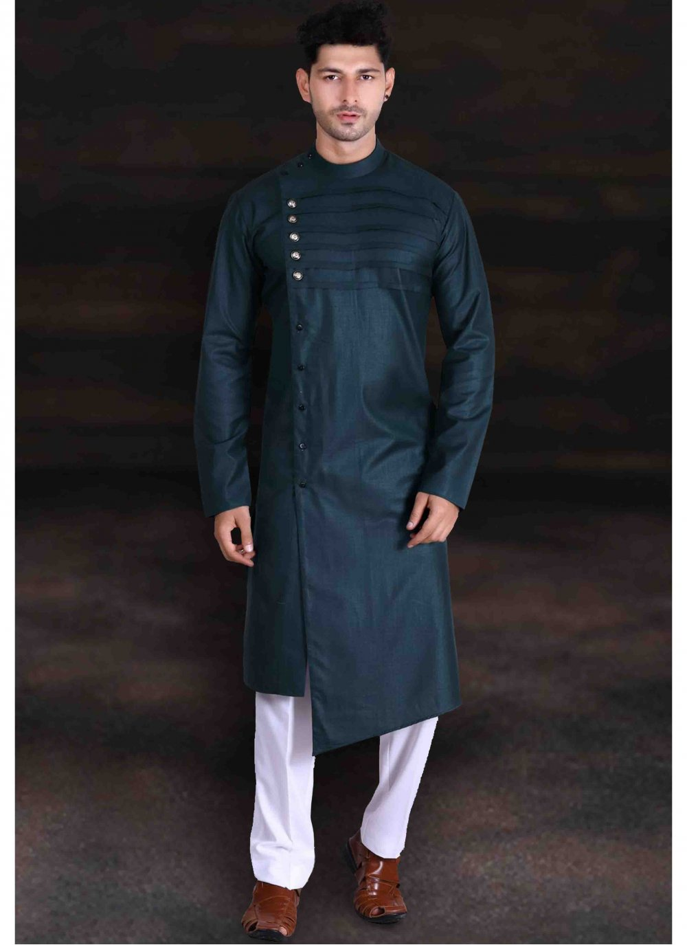 Cotton Kurta Pyjama in Green