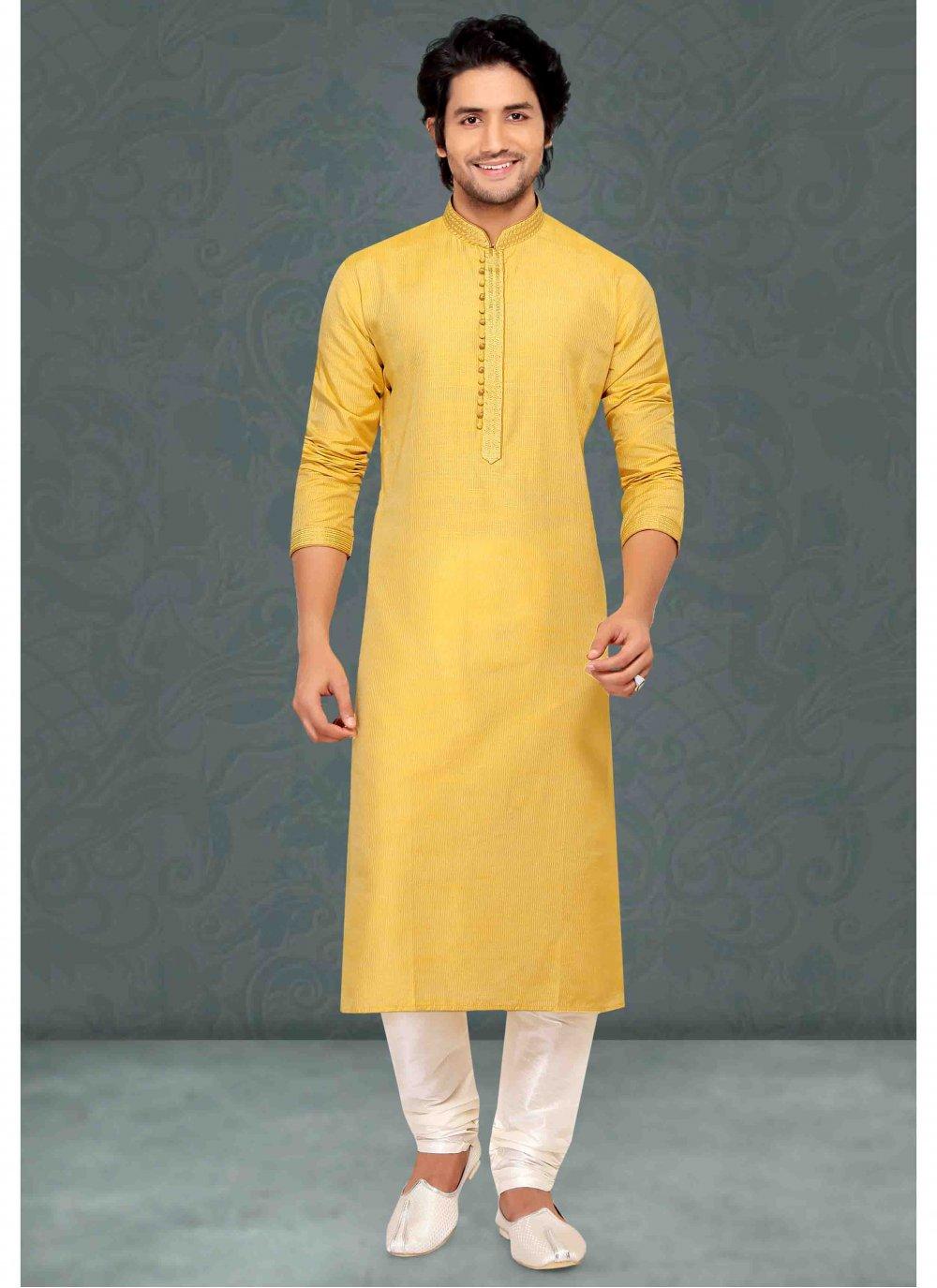 Cotton Kurta Pyjama in Yellow
