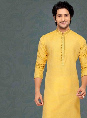 Cotton Kurta Pyjama in Yellow