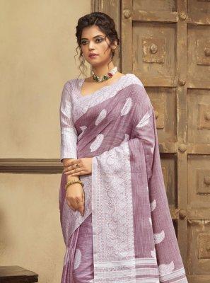 Cotton Lavender Resham Classic Saree