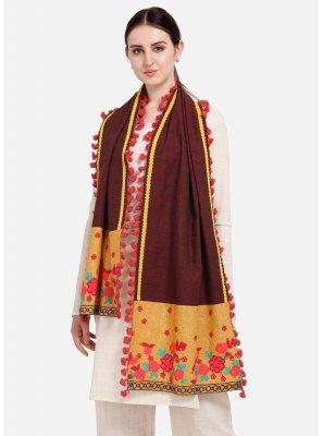 Cotton Maroon Embroidered Designer Dupatta