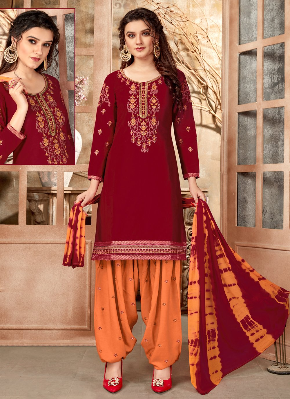 Cotton Maroon Embroidered Designer Patiala Suit