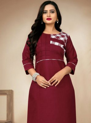 Cotton Maroon Party Wear Kurti