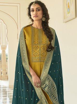 Cotton Mustard Designer Pakistani Suit