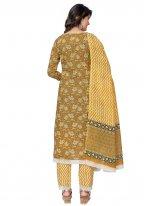 Cotton Mustard Readymade Suit