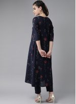 Cotton Navy Blue Embroidered Party Wear Kurti