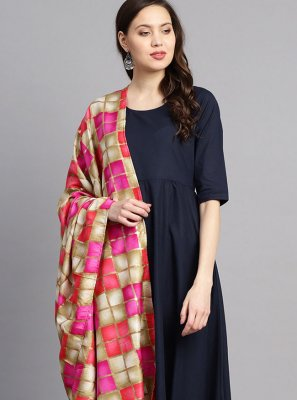 Cotton Navy Blue Print Readymade Suit