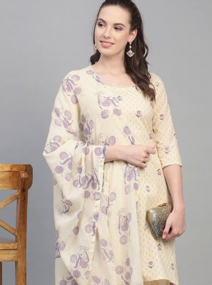 Cotton Off White Print Readymade Suit