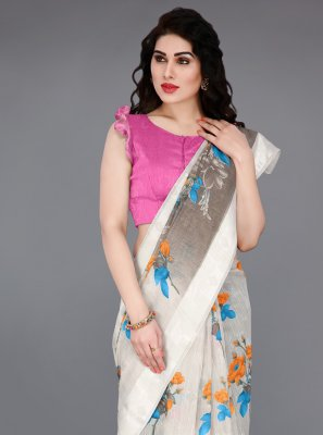 Cotton Off White Printed Traditional Saree