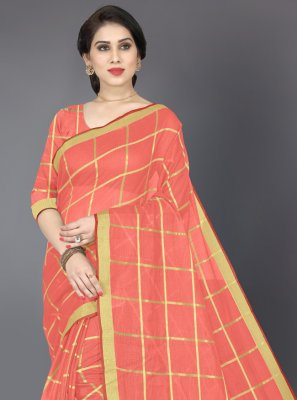 Cotton Orange Casual Saree