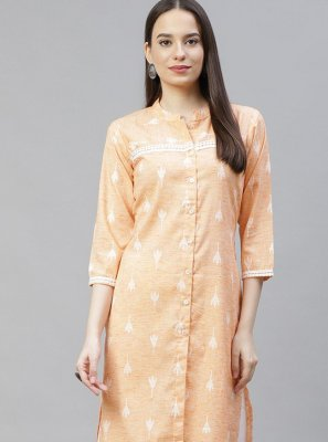 Cotton Orange Print Casual Kurti