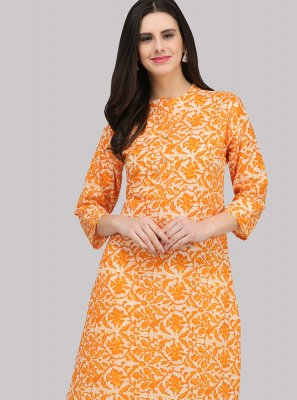 Cotton Orange Print Party Wear Kurti