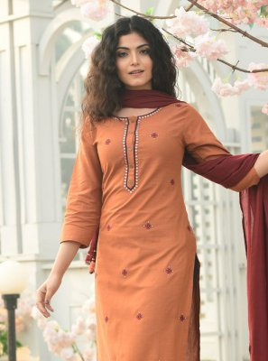 Cotton Orange Readymade Suit