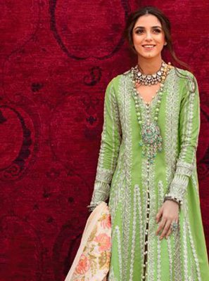 Cotton Pant Style Suit in Green