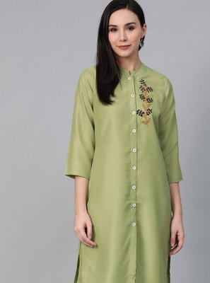 Cotton Party Wear Kurti in Green
