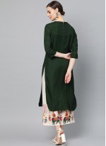 Cotton Party Wear Kurti in Green