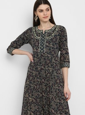 Cotton Party Wear Kurti in Multi Colour