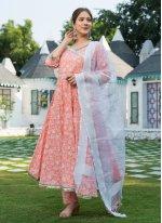 Cotton Peach Anarkali Salwar Kameez