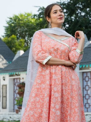 Cotton Peach Anarkali Salwar Kameez