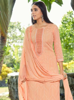 Cotton Peach Designer Pakistani Suit